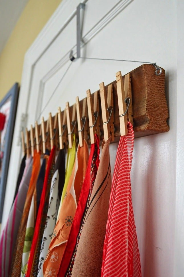 36 Tips for Getting Organized in 2016 DIY-clothespin-scarf-organizer