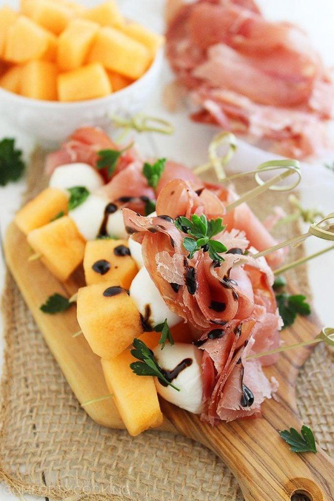 Melon Proscuitto Mozzarella Skewers amazing appetizer recipes