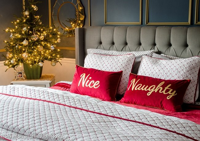 Our Red   White Christmas bedroom featuring black and white polka dot  flannel sheets  red. Our Red   White Christmas Bedroom 2015   Four Generations One Roof