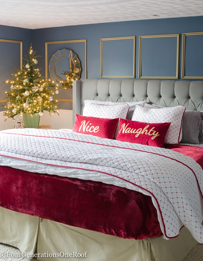 Our Red + White Christmas Bedroom Featuring Black And White Polka Dot  Flannel Sheets, Red