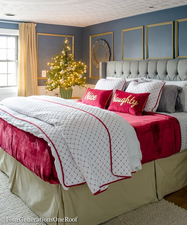 Our Red + White Christmas Bedroom 2015