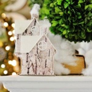 twig and boxwood Christmas mantel