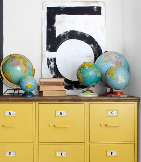 36 Tips for Getting Organized in 2016 yellow-thrifted-file-cabinets