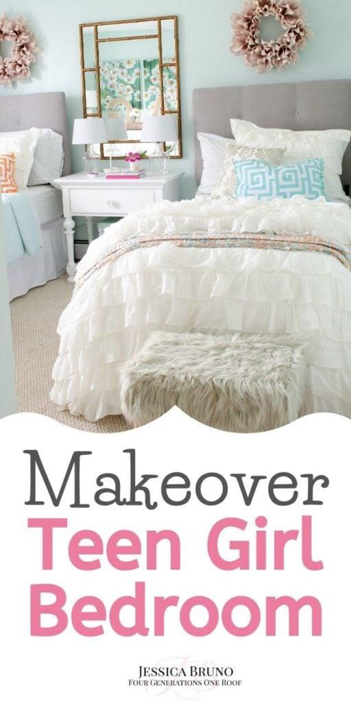Teen Girl Bedroom Makeover + ruffle white bedding