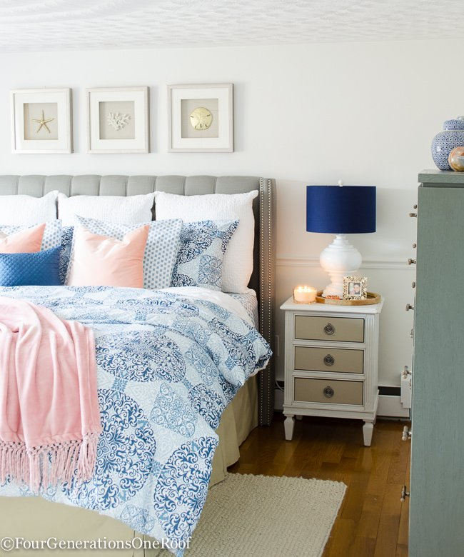 Christmas in July | Gorgeous Master Bedroom Medallion Bedding + gray tufted headboard