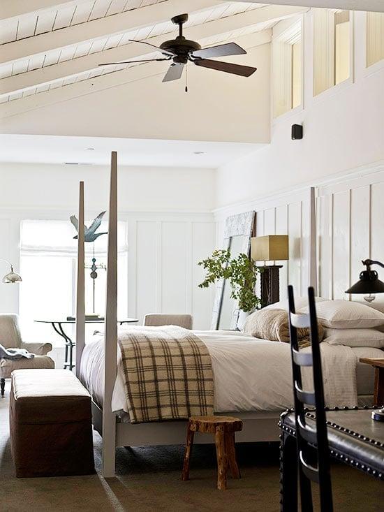 36-Cozy-Master-Bedrooms-tan-plaid-throw-wood-stool