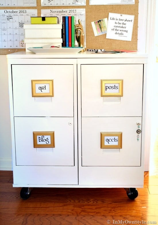 14 Fabulous Office Organization Ideas / Stylish Organization Ideas   High Style, High Function, Low Cost Workspace Ideas featured on Four Generations One Roof / File-Cabinet-Transformation-with-DIY-chalk-paint-and-soft-paste-wax