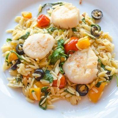 Easy scallops recipe with Orzo