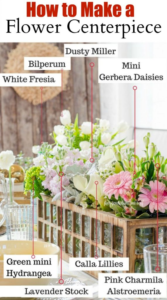 how to make a DIY flower centerpiece out of a candle holder