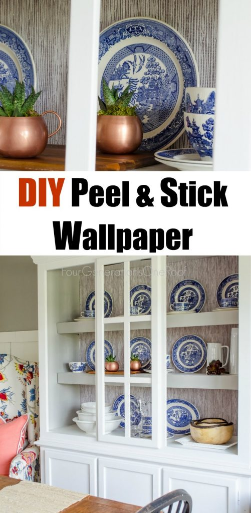 peel and stick wallpaper/how to add peel and stick wallpaper to a hutch or bookcase / diy