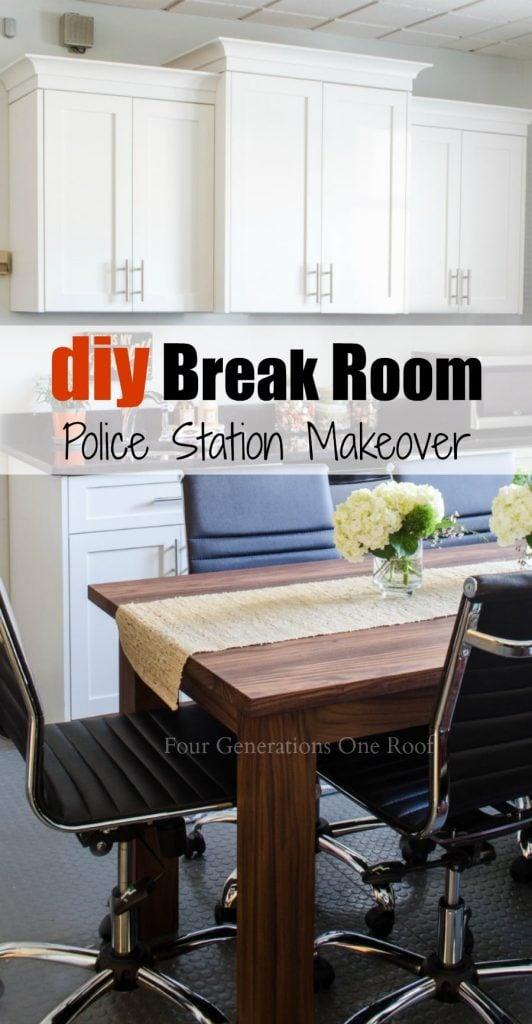 Police Station break room makeover : DIY workstation/DIY kitchen/DIY table