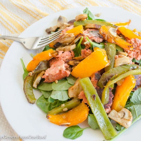 Salmon Burger Salad with Peppers