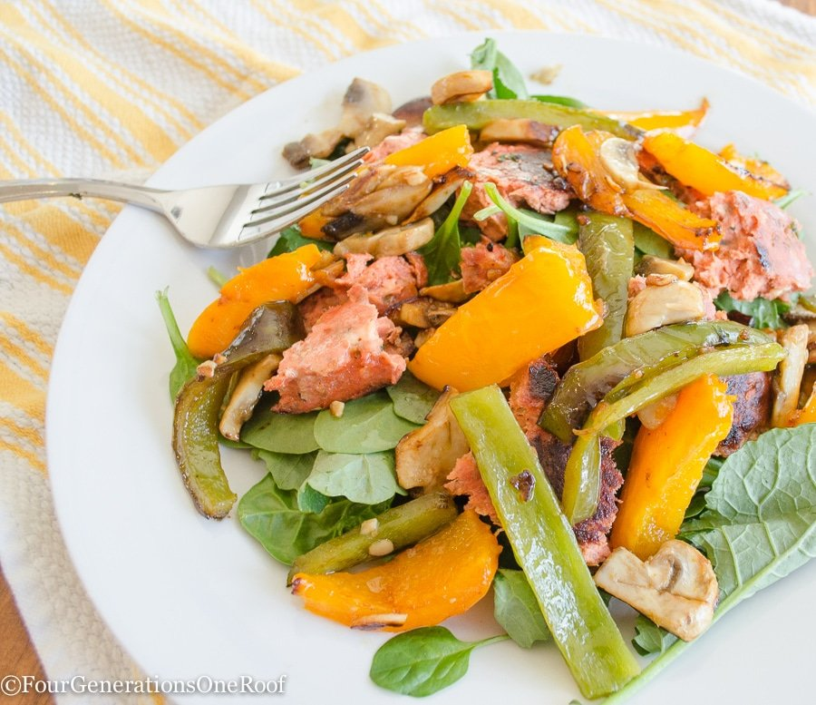 Salmon Burger Salad with Peppers - Four Generations One Roof