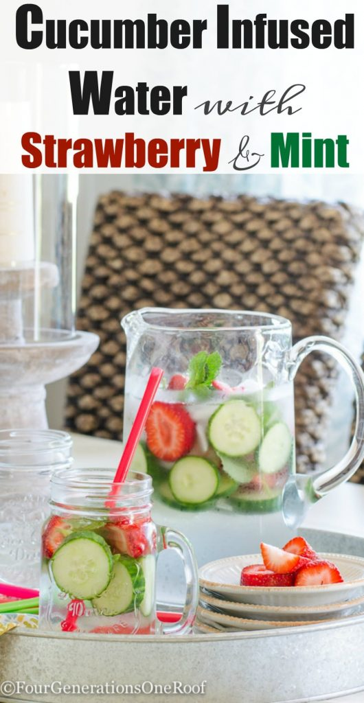 Cucumber Infused Water with Strawberry and Mint  Summer refreshment
