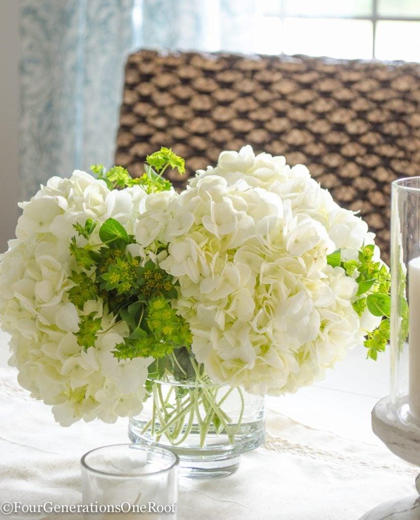 hydrangeas, vase, seagrass chair