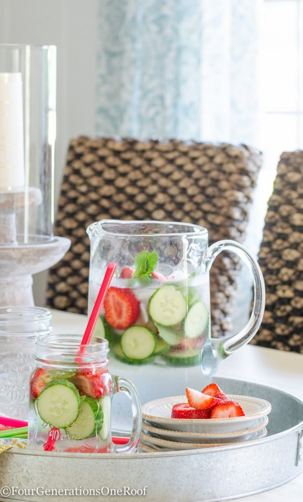 cucumber infused water with strawberry