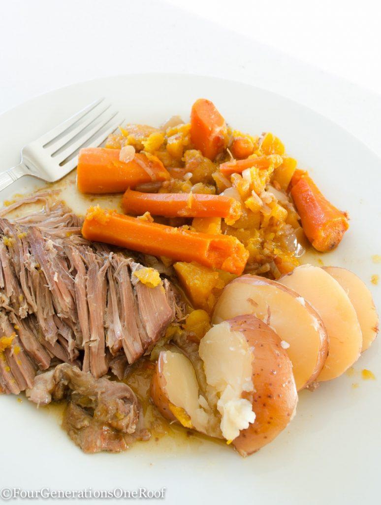 crock-pot-pot-roast / Easy steps, 1, 2, 3 - cook on low for 6 hours.