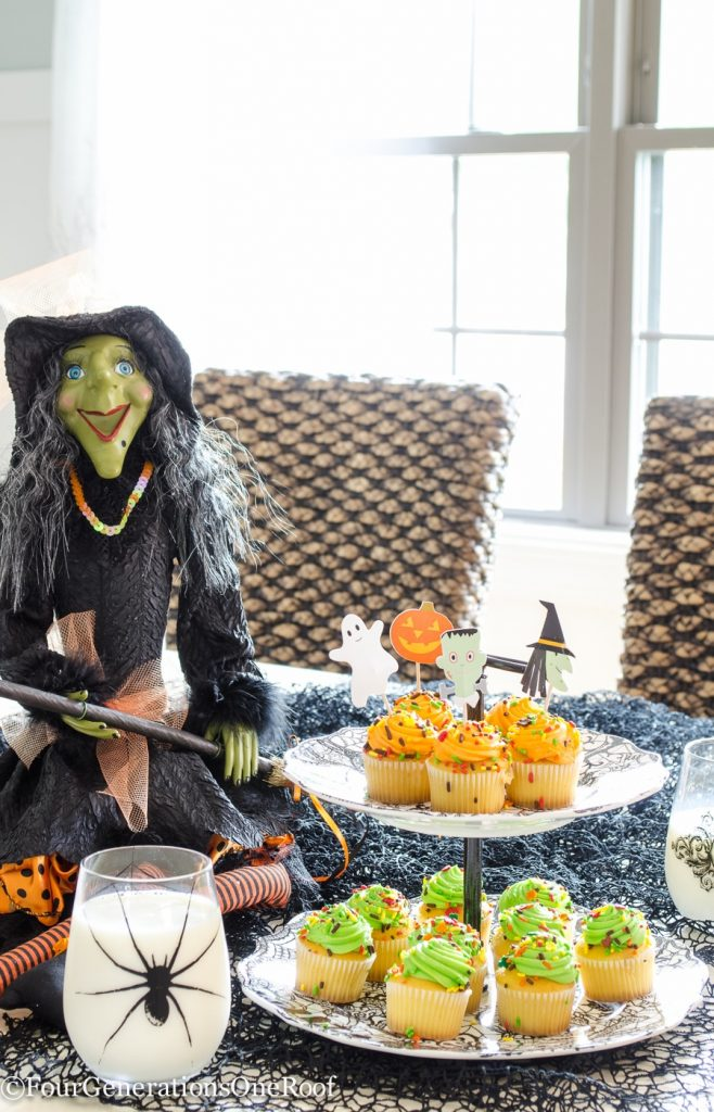 halloween ideas with witches and snacks in dining room
