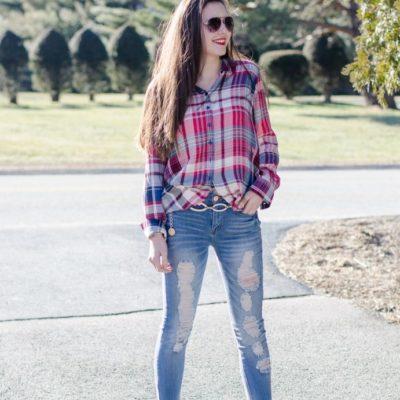 Plaid + Denim {Alexia's cute outfit}
