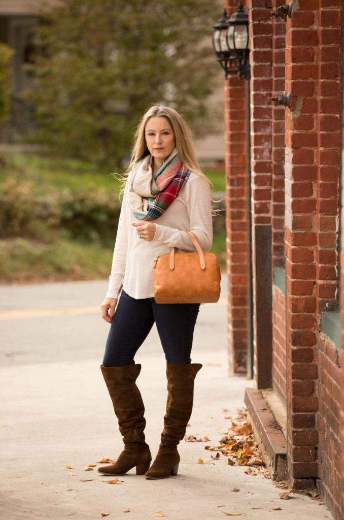 thermal top + scarf + boots