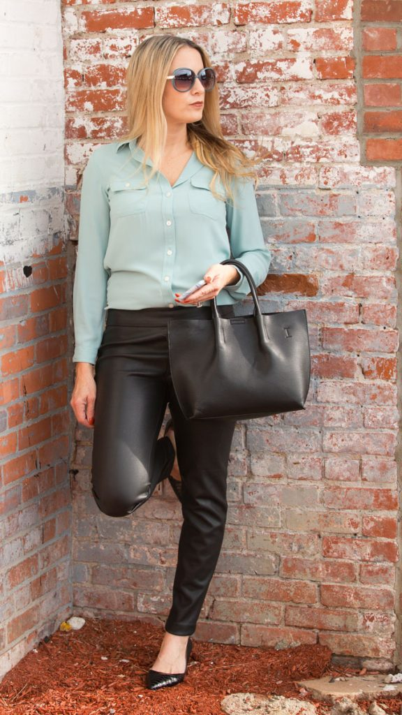 Who says moms can't wear leather leggings? How to wear leather pants and be chic and sophisticated