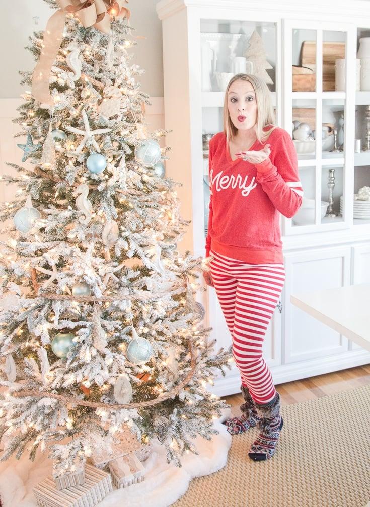 Christmas Pajamas 2016 | Naughty List | Striped Leggings | Plaid and Merry Sweatshirt