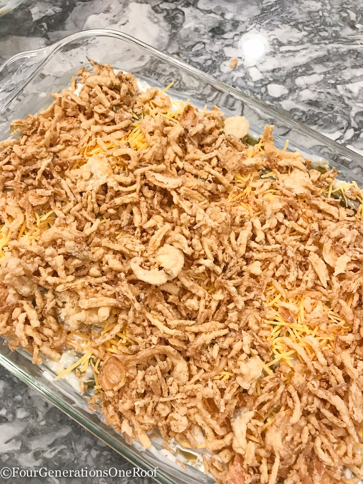 Green Bean Casserole with rice, cheese and cream