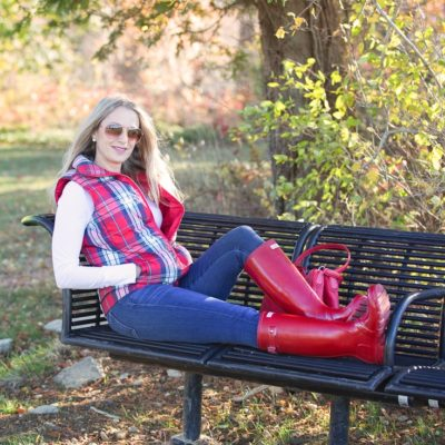 Perfect Plaid Down Vest and Hunter Boots (love this outfit!)