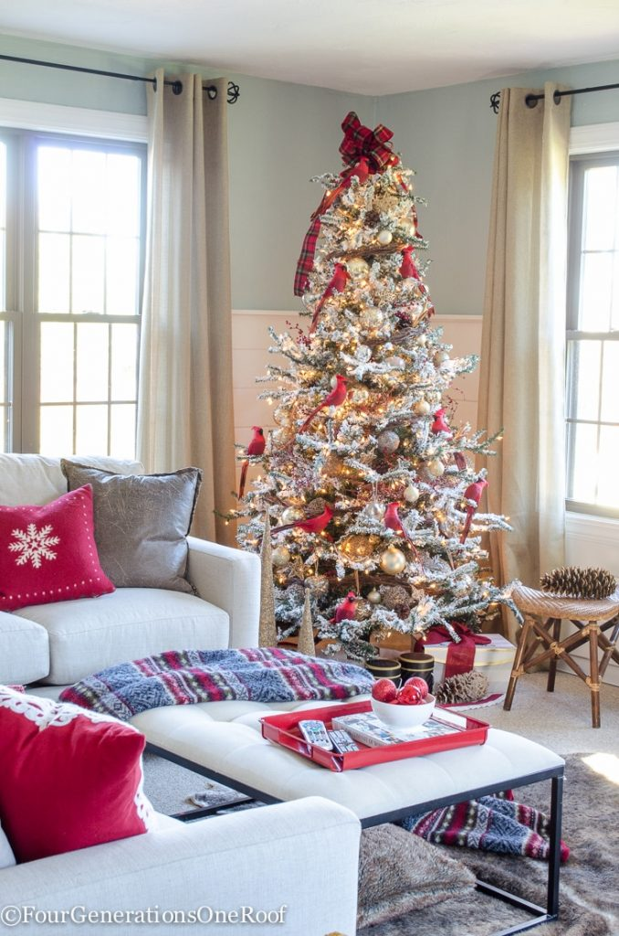 Our Red Gold Christmas Tree Family Room Four Generations One Roof