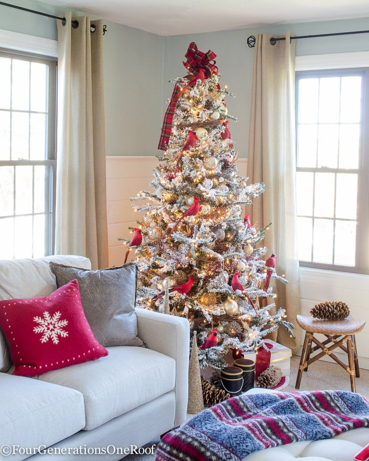 Red And Gold Christmas Trees: Our Red + Gold Christmas Tree + Family Room