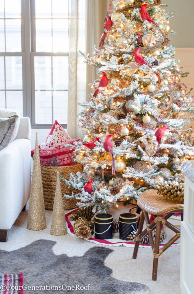 Our Red Gold Christmas Tree Family Room Four