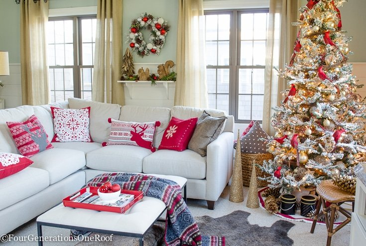 Our Red + Gold Christmas Tree + Family Room
