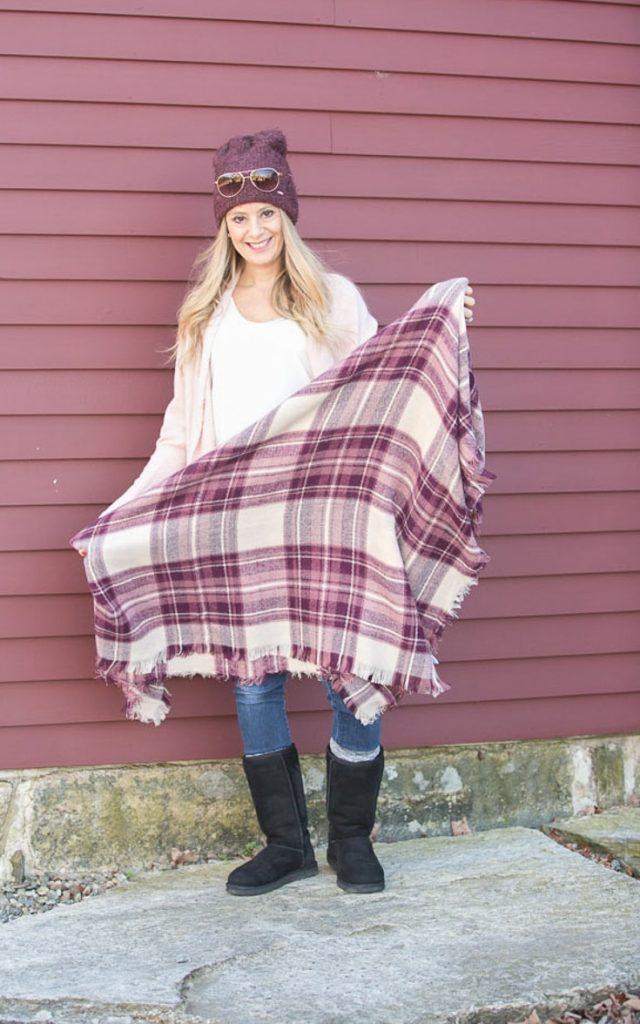 Cozy Winter Layers - Plum beanie | plaid burgundy scarf | soft pale pink cardigan
