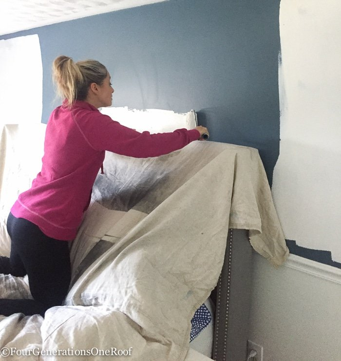 Master Bedroom Christmas Makeover Progress / Getting rid of the Navy walls and Painting them white