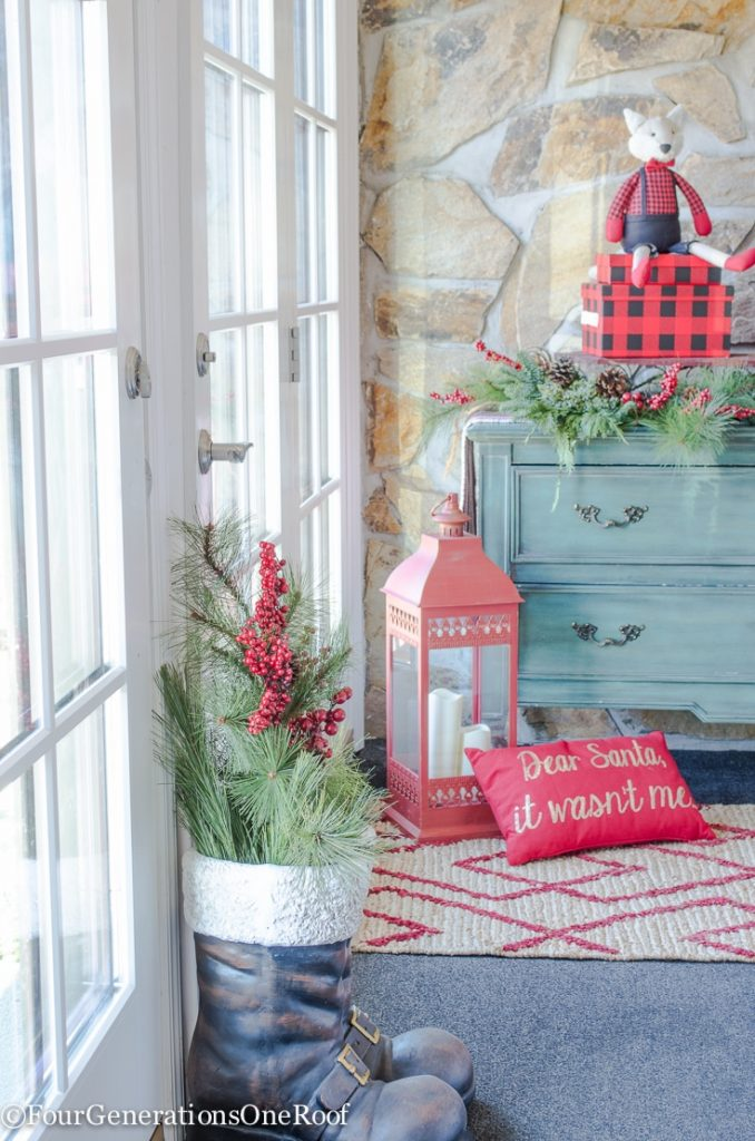 Christmas Entry-Way | Flocked Tree | Red Lantern| Vintage Christmas Pillows
