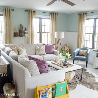 How to Decorate with Pops of Color {our living room}