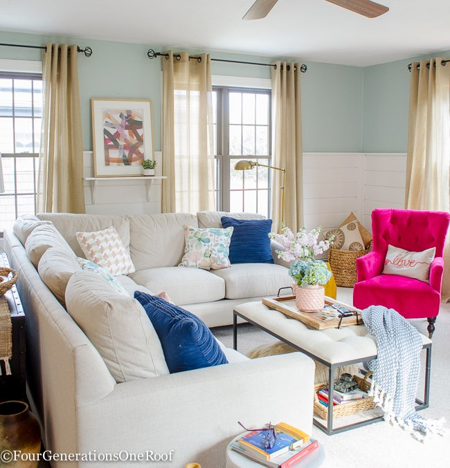 Blue pink living room decorating ideas four Better homes and gardens living room ideas