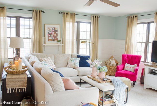 Blue Pink Living Room Decorating Ideas
