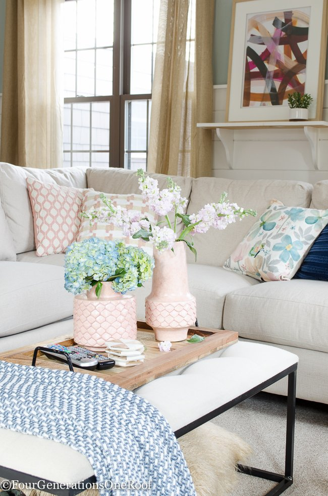 Superb Blue + Pink Living Room Decorating Ideas