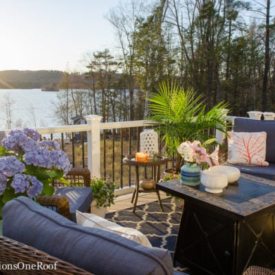Blue Lakeside Deck Living Space Reveal
