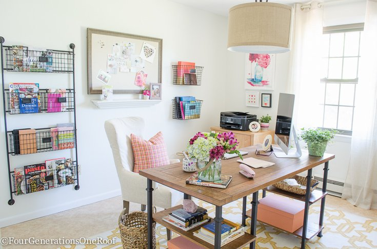 Colorful Modern Farmhouse Office Decorating Ideas