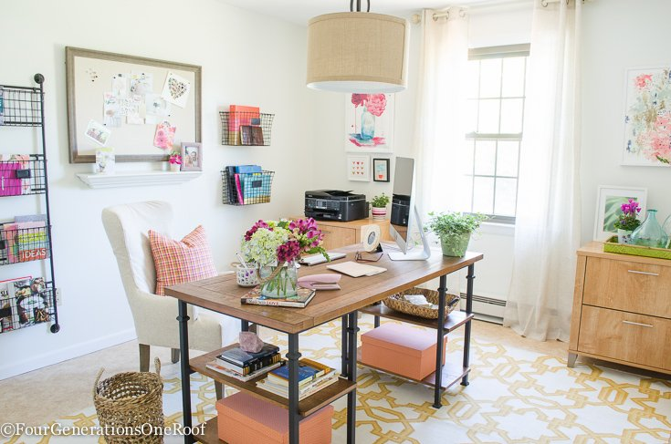 Christmas in July | Colorful Modern Farmhouse Office Decorating Ideas | How to create a modern farmhouse office | Rustic + Industrial + Modern Office