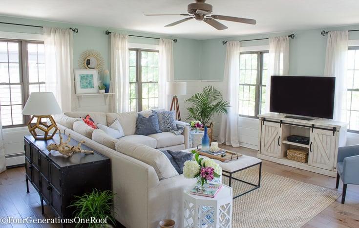 Christmas in July | Gorgeous Blue + Green Coastal Living Room Hardwoods