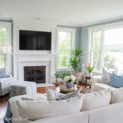 Coastal Pottery Barn Living Room on a Budget
