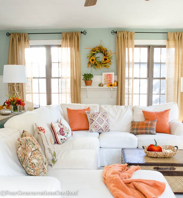 Fresh Fall Home Decorating Ideas Home Tour: Pretty Orange Fall Living Room Tips + Resource List