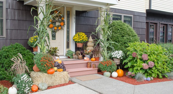 Our Orange Harvest Front Door Decked out for Fall