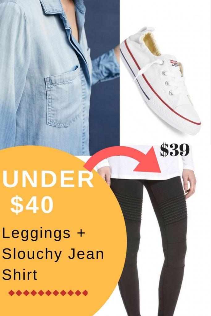 slouchy jean shirt + leggings under