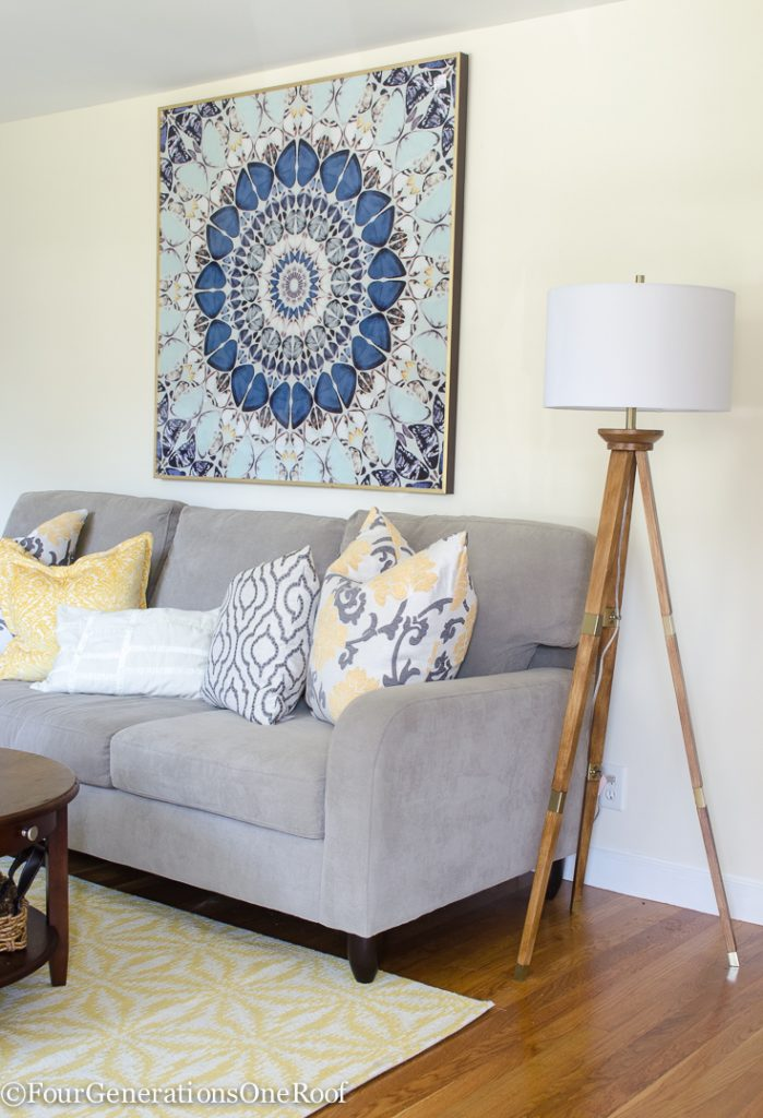 Colorful Transitional Living Room Makeover - Four Generations One Roof