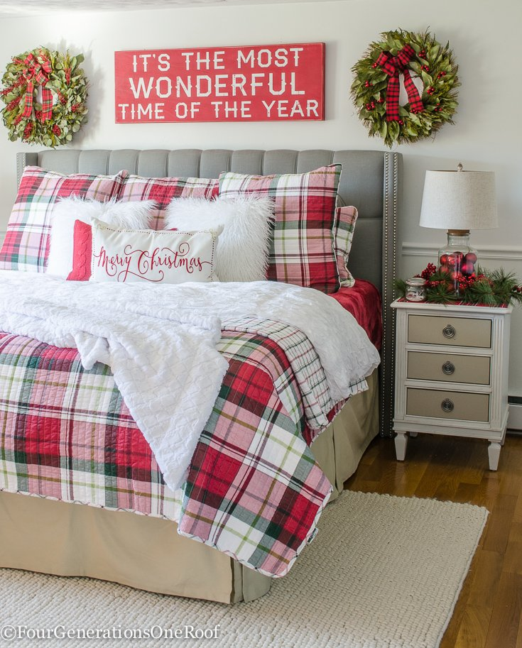 red and white christmas plaid bedding christmas bay leaf wreaths its the most wonderful