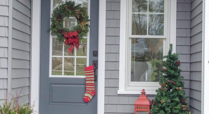 Pretty Christmas Garland + Greens: Front Door